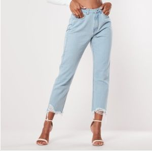 Misguided petite blue wrath vintage raw jeans